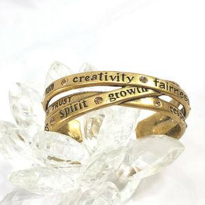 Chicos Gold Tone Cuff Bracelet Inspirational Words